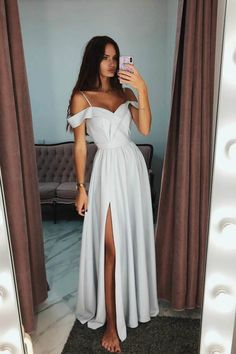 Elegant Cold Shoulder Side-Split Prom Evening Dress - White Dresses - Ideas of White Dresses - elegant white cold shoulder split prom party dresses fashion formal evening gowns Elegant Prom Dresses, Prom Party Dresses, Pretty Dresses, Homecoming Dresses, Beautiful Dresses, Evening Dresses, Formal Dresses For Weddings, Dress Prom, Long White Formal Dresses
