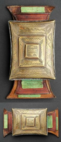 Africa | Tuareg Talisman / amulet ~ Tcherot | Brass/copper alloy, leather || These talismans are often attached to the tagelmoust | Late 20th century