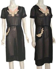 1940s Sheer Vintage Beaded Dress