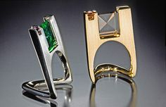 Rings | John Christine. 'Stand Up' 14K gold free, custom cut tourmalines, accented with a princess cut sapphire.