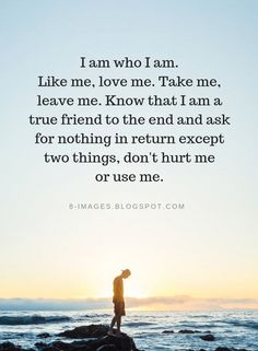 Quotes I am who I am. Take me, leave me. Know that I am a true friend to the end and ask for nothing in return except two things, don't hurt me or use me. I Am Quotes, Great Quotes, Quotes To Live By, Funny Quotes, Inspirational Quotes, Dont Leave Me Quotes, Using Quotes, I Love Me Quotes, Happy Me Quotes