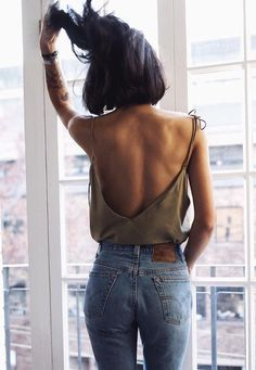 sensual style backless tank with high waisted jeans