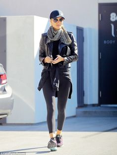 Working up a sweat: Rosie Huntington-Whiteley showcased the fruits of her labour in skinti...