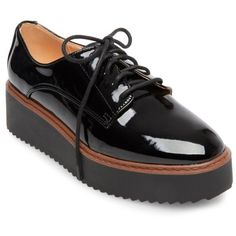Madden Girl  Written Platform Oxford ($40) ❤ liked on Polyvore featuring shoes, oxfords, black patent, black platform shoes, laced up shoes, lace up oxfords, black oxford shoes and oxford shoes