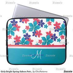 Girly Bright Spring Sakura Pattern Monogram Laptop Sleeve #ad #laptopsleeve