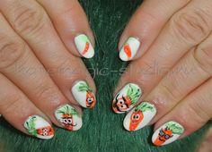 Креативный дизайн ногтей, нейл арт, рисунок на ногтях, морковки, покрытие Shellac, идея маникюра.  Студия KateMagic. Москва, м.Борисово.  Телефон для записи: (495) 340 01 00.