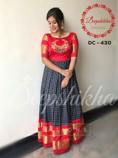 DC Lovely floor length anarkali dress with hand embroidery thread work on yoke. For queries kindly WhatsApp : 9059683293 Indian Long Dress, Indian Gowns Dresses, Indian Designer Outfits, Designer Dresses, Long Dress Design, Half Saree Designs, Blouse Designs, Ikkat Dresses, Maxi Dresses