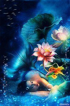 Mermaid - Animated Photo by Dixinox. Love this fantasy art gif! Mermaid Artwork, Mermaid Drawings, Mermaid Paintings, Fantasy Mermaids, Mermaids And Mermen, Mermaid Gifs, Mermaid Mermaid, Vintage Mermaid, Mermaid Pictures