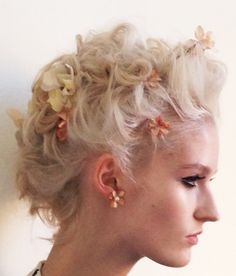 Floral hair at #ZacPosen #NYFW