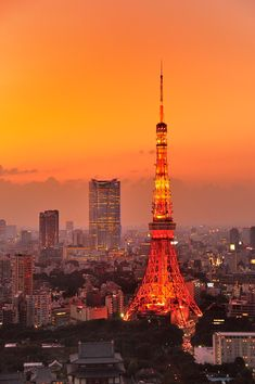 Tokyo tower in Japan Tokyo Skyline, Paris Skyline, Nagano, Tokyo City View, Osaka, Wonderful Places, Beautiful Places, Scenery Pictures, Aesthetic Japan