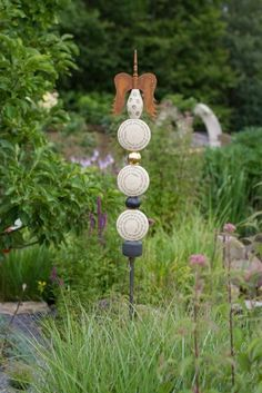 "Stele ""Der Morgen"" Wind Chimes, Totems, Pottery Ideas, Outdoor Decor, Ceramics, Sculptures, Dekoration, Clay, Balcony"