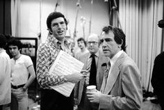"1975 - Composer Marvin Hamlisch and producer Joe Papp during production of the musical ""A Chorus Line""."