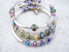 Bangle Memory Wire Bracelets, Czech Glass Stones, Glass Crystals