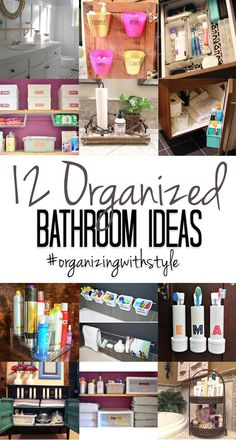Organize every inch of your bathroom from your toiletries to kids bath toys with these twelve simple ideas. My favorites are the three using the space on the back of the cabinet doors!