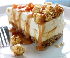 Salted Caramel Cheesecake Topped With Salted Caramel Corn