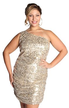 plus size one shoulder ruched sequin homecoming dress  $62.50