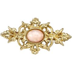 1928 Downton Abbey® Gold-Tone Peach Color Stone Pin ($20) ❤ liked on Polyvore featuring jewelry, brooches, vintage pins brooches, victorian jewelry, stone jewelry, 1928 jewelry and victorian brooch