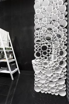Decorative Room Dividers Made of Plastic Pipes, Modern Interior Design Ideas or stryro cups that are discontinued. Lol could make room divider. Temporary Room Dividers, Decorative Room Dividers, Fabric Room Dividers, Hanging Room Dividers, Folding Room Dividers, Decorative Screens, Decorative Walls, Room Divider Bookcase, Room Divider Walls