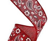 "1.5 "" Red Bandana Print Ribbon- (10 Yards) - RG1692R9"