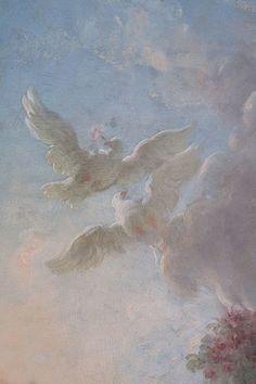 Fragonard - L'Amour en sentinelle Quatre  allégories des amours : L'Amour en sentinelle L'Amour folie L'Amour poursuivant une colombe L'Amour assassin. gris-bleu.fr