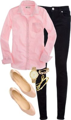 Pink gingham, skinnies, nude flats, pearls