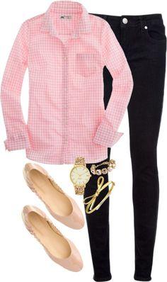 Pink gingham, skinnies, nude flats, pearls