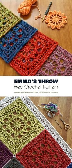 Emma's Throw Free Crochet Pattern # crochet blanket patterns granny square Poly or Mono: That is the Question Crochet Pattern Free, Crochet Motifs, Granny Square Crochet Pattern, Crochet Squares, Crochet Blanket Patterns, Crochet Stitches, Knitting Patterns, Granny Squares, Crochet Blankets