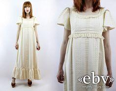 Vintage 70s Cream Lace Maxi Dress XS S Vintage Hippie by shopEBV, $98.00