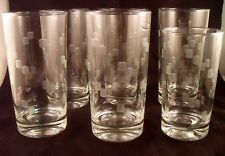 CUBIST ANCHOR HOCKING Clear TUMBLERS / Glasses - Set of 6 - 1960's