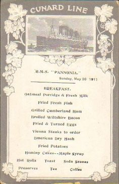 Cunard Line RMS Pannonia menu for Breakfast on May 28, 1911