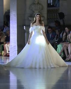 "Off Shoulder A-Lane Princess Wedding Dress / Bridal Gown with a Train. ""Temple of Flora"" Fall Winter 2020 Couture Collection. Runway Show by Rami Kadi"