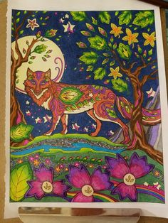 Marjorie Sarnat Fanciful Foxes Fox Coloring Page, Adult Coloring, Coloring Books, Coloring Pages, Colorful Pictures, Foxes, Decoupage, Dog Cat, Fancy