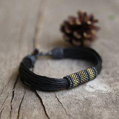 Black mens bracelet beaded bracelet for him tribal by Naryajewelry