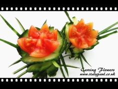 Art In Cucumber Tomato Show - Vegetable Carving Flowers Garnish