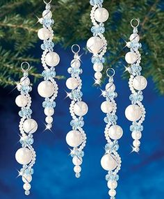 My favorite source for arts and crafts: Pearl Icicles Beaded Ornaments Kit Beadery Holiday Ornament Kit Pearl Icicles New Makes 6 Ornaments Create this beaded ornament to add some sparkle to your Christmas tree this holiday season. Beaded Christmas Decorations, Beaded Christmas Ornaments, Christmas Diy, Diy Ornaments, Snowflake Ornaments, Crochet Ornaments, Angel Ornaments, Christmas Jewelry, Homemade Christmas