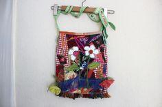 Red Hippie Bag, Handmade rag bag, Red Boho Bag, Ethnic bag, Recycle bag, Red denim bag, Red shoulder bag, Patchwork punk bag, unique bag Handmade Fabric Bags, Hippie Hair, Ethnic Bag, Red Shoulder Bags, Traditional Fabric, Unique Bags, Plaid Fabric, Denim Bag, Headbands For Women