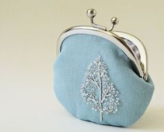 Coin purse - winter tree on blue linen