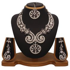 Long Diamond Necklace By Vendee Fashion 7257 Purple Fashion, Dark Purple, Indian Jewelry, Fashion Necklace, Antique Silver, Diamond Jewelry, Jewelry Sets, Silver Plate, Jewelery