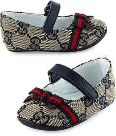 Gucci Marylin Canvas Guccissima Mary Jane Flat, Infant