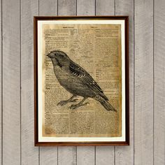 Lovely animal art bird print for home and office. Sparrow poster on a handmade antique dictionary page. Cute 8.3 x 11.7 inches (A4) rustic decor. BUY