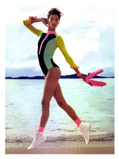 Neon leotard 80's on the beach www.beachcafe.com
