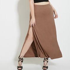 High-Slit Maxi Skirt Tan maxi skirt / knit stretch fabrication / elastic waist and front M slit (slit on both sides). Super soft and comfy to wear and easy to style a million different ways! NWOT. Never worn. No trades. Forever 21 Skirts Maxi