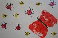 Pintura com esponja, rolha e dedos