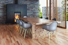 Back to Nature - Die Einrichtungstrends 2017 Back To Nature, Eames, Conference Room, Dining Table, Chair, Furniture, Home Decor, Reclaimed Wood Wall Panels, Wall Panelling