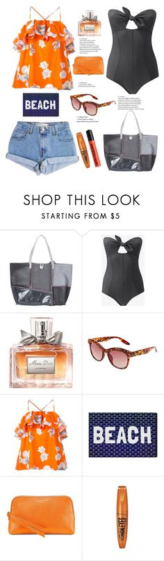 """Beach Scene"" by felicitysparks ❤ liked on Polyvore featuring Carmina Campus, Lisa Marie Fernandez, Christian Dior, Betsey Johnson, MSGM, Levi's, Oliver Gal Artist Co., Aspinal of London, Rimmel and NYX"