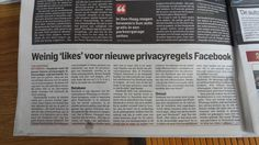 Weinig likes voor de nieuwe pricacy voorwaarden van facebook. 7 januari 2015