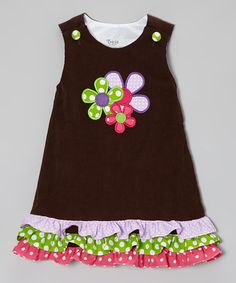 Take a look at this Brown Corduroy Flowers A-Line Jumper - Infant & Toddler by Tricia on #zulily today!