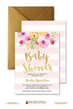 Pink Stripes Baby Shower Invitation Gold Glitter Painterly Watercolor Flowers…