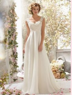 Simple wedding dress Lace&chiffon Spaghetti Strap Bride sister party gown custom