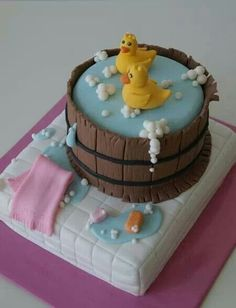 Duckies in tub fondant cake. Pretty Cakes, Cute Cakes, Gateaux Cake, Novelty Cakes, Fancy Cakes, Love Cake, Cake Creations, Creative Cakes, Celebration Cakes